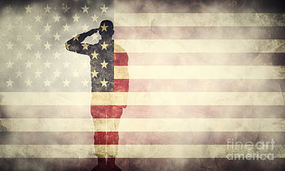 July Photograph - Double Exposure Of Saluting Soldier On Usa Grunge Flag. Patriotic Design by Michal Bednarek
