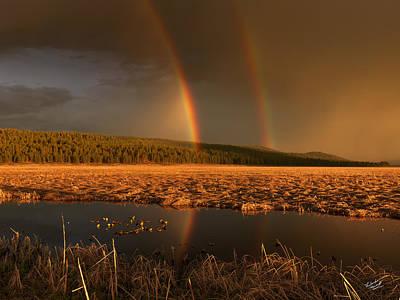 Secondary Rainbow Reflection Print by Leland D Howard