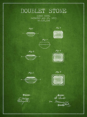 Doublet Stone Patent From 1873 - Green Print by Aged Pixel