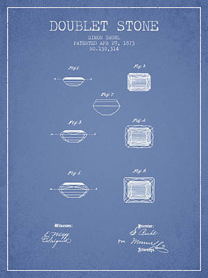 Doublet Stone Patent From 1873 - Light Blue Print by Aged Pixel