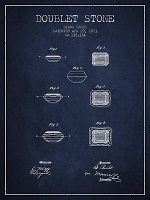 Doublet Stone Patent From 1873 - Navy Blue Print by Aged Pixel