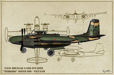 Digital Art - Douglas A-26 Vietnam Profile by Tommy Anderson