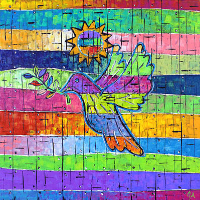 Dove Of Peace, Color And Light Print by Jeremy Aiyadurai