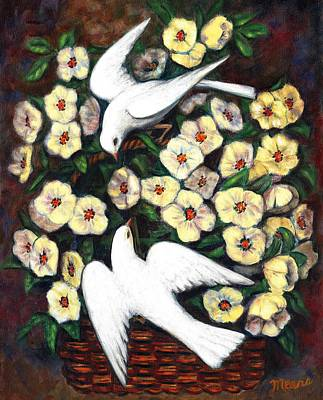 Doves Painting - Dove Play by Linda Mears