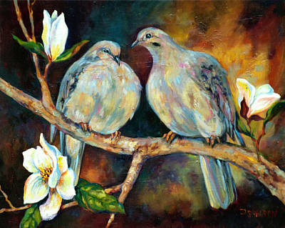 Doves And Magnolia Print by Peggy Wilson