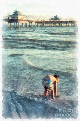 Water Play Painting - Down At The Shore Watercolor by Edward Fielding