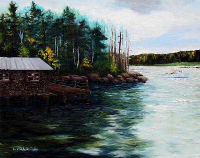 Boathouses Painting - Down East Boathouse by Laura Tasheiko