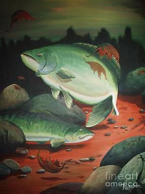 Fish Painting - Down Stream by Terri Rodstrom