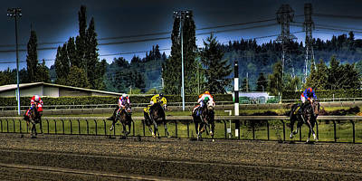 Horse Racing Photograph - Down The Stretch by David Patterson