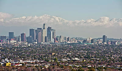Down Twon Los Angeles In Winter Print by Lee Chon