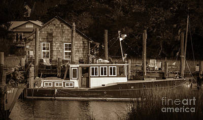 Shem Creek.sepia Photograph - Downeast Style Yacht On Shem Creek by Dale Powell