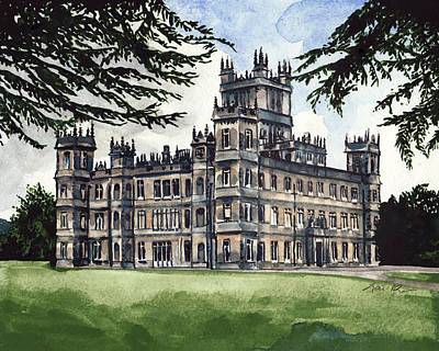 Buckingham Palace Painting - Downton Abbey Estate Highclere Castle by Laura Row