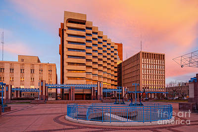 Downtown Albuquerque Harry E. Kinney Civic Plaza And Bernalillo County Clerk Office - New Mexico Print by Silvio Ligutti