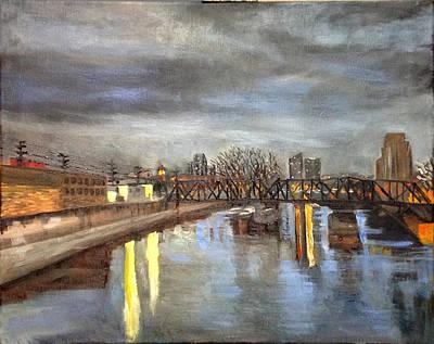Downtown Bridge Print by Mary Marin