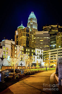 Downtown Charlotte Bearden Park At Night Print by Paul Velgos