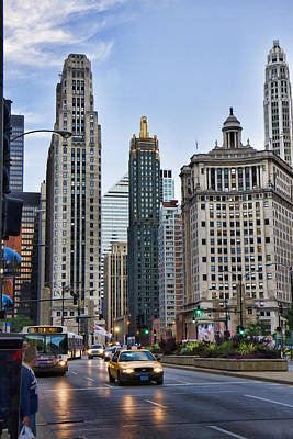 Downtown Chicago Traffic Print by Paul Bartoszek