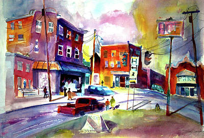 Intersection Painting - Downtown Cobleskill New York by Joseph Giuffrida