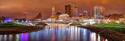 City Scenes Photograph - Downtown Columbus Ohio Skyline Panorama At Night by Gregory Ballos