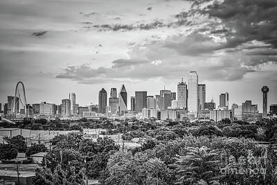 Downtown Dallas In Black And White Print by Tod and Cynthia Grubbs