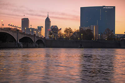 Cities Photograph - Downtown Indianapolis Skyline Sunrise On The Water by Gregory Ballos