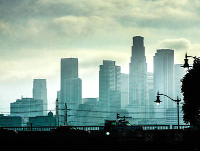Los Angeles Skyline Photograph - Downtown Los Angeles by Hsin Liu