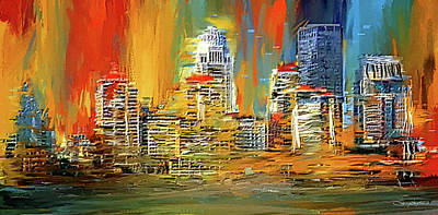 Downtown Louisville - Colorful Abstract Art Print by Lourry Legarde