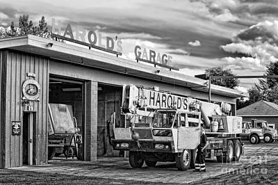 Machinery Photograph - Downtown Northampton - Harold's Garage by HD Connelly