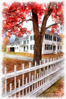 Foliage Painting - Downtown Norwich Vermont Picket Fence by Edward Fielding