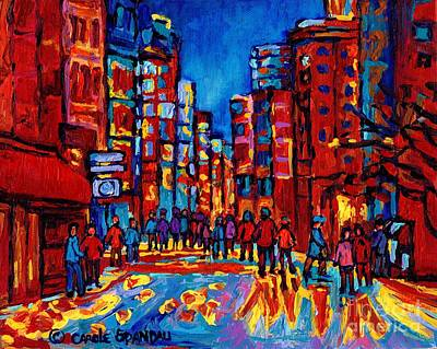 Streetscenes Painting - Downtown Skyline City After The Rain Montreal Skyscapers Rue Ste. Catherine Canadian Art by Carole Spandau