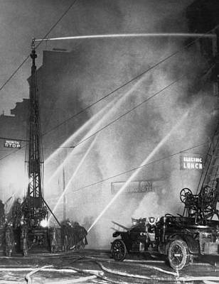 Downtown Syracuse Fire Print by Underwood Archives
