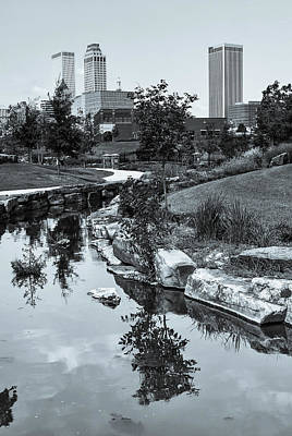 Landscape Photograph - Downtown Tulsa Oklahoma Skyline. Ca. 2008 - Selenium B And W by Gregory Ballos