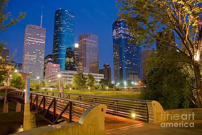 Dowtown Houston By Night Print by Olivier Steiner