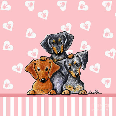 Doxie Trio Print by Kim Niles