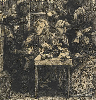 Intellect Drawing - Dr Johnson At The Mitre by Dante Gabriel Charles Rossetti
