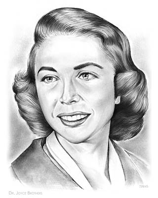 Personalities Drawing - Dr. Joyce Brothers by Greg Joens