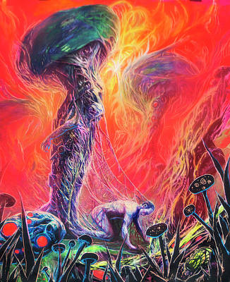 Dr. Liquid Trips Out Of A Mushroom Original by Will Shanklin