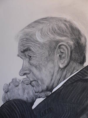 Dr. Ron Paul, Pensive Print by Adrienne Martino