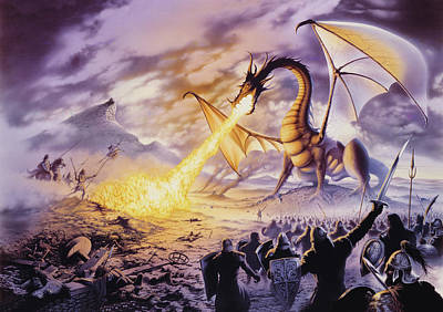 Dragon Battle Print by The Dragon Chronicles - Steve Re