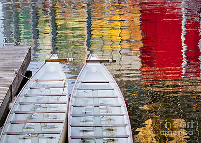 Dragon Boats In Evening Light Print by Chris Dutton