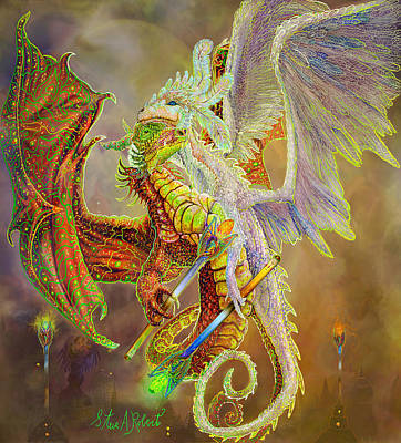 Oracle Painting - Dragon Dancers by Steve Roberts