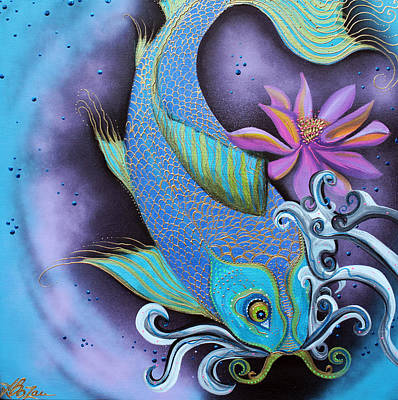Prosperity Painting - Dragon Fish by Laura Barbosa