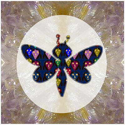 Rights Manages Images Mixed Media - Dragon Fly Cute Painted Face Cartons All Over Donwload Option Link Below Personl N Commercial Uses by Navin Joshi