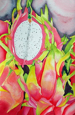 Fiber Art Painting - Dragon Fruit by Margaret Elizabeth Johnston ND