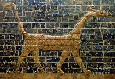 Babylon Photograph - Dragon Of Marduk - On The Ishtar Gate by Anonymous