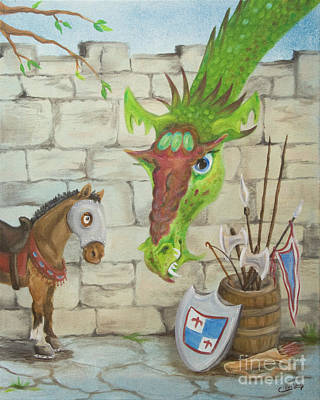 Castle Painting - Dragon Over The Castle Wall by Cathy Cleveland