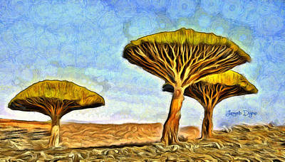 Field Digital Art - Dragonblood Trees - Da by Leonardo Digenio