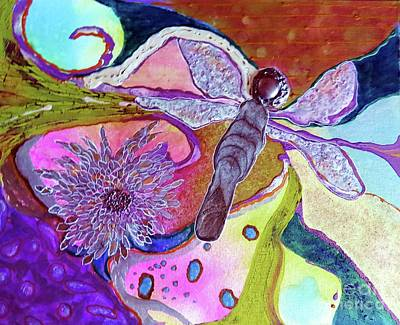 Dragonfly And Mum Print by Desiree Paquette