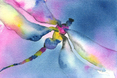 Dragonflies Painting - Dragonfly Blues by Gladys Folkers