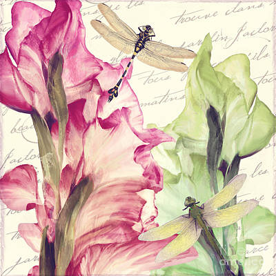 Gladiolus Painting - Dragonfly Morning I by Mindy Sommers