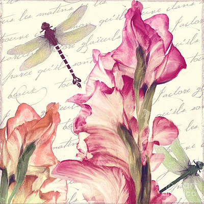 Gladiolus Painting - Dragonfly Morning II by Mindy Sommers